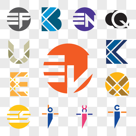 Set Of 13 transparent editable icons such as Ev vE, ci ic, xi ix, bi ib, ES SE, X Letter, E K U web ui icon pack, transparency set Vektorové ilustrace