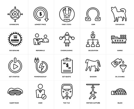 Set Of 20 icons such as igloo, motion capture, tuk tuk, user, sleep mask, chihuahua, delegation, get quote, started, referrals, first steps, web UI editable icon pack, pixel perfect