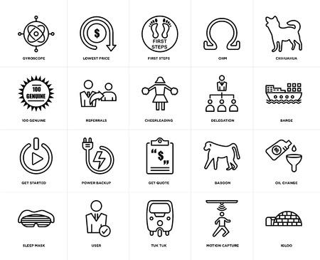 Set van 20 pictogrammen zoals iglo, motion capture, tuk tuk, gebruiker, slaapmasker, chihuahua, delegatie, offerte aanvragen, gestart, verwijzingen, eerste stappen, bewerkbaar pictogrampakket voor webgebruikersinterface, pixel perfect