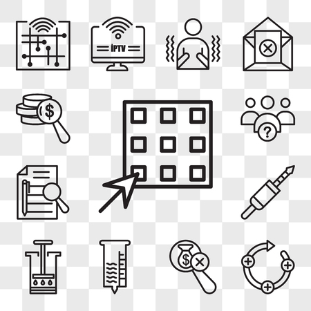 Set Of 13 transparent icons such as waffle, feedback loop, no hidden fees, hygrometer, aeropress, 3.5 mm jack, executive summary, why us, web ui editable icon pack, transparency set