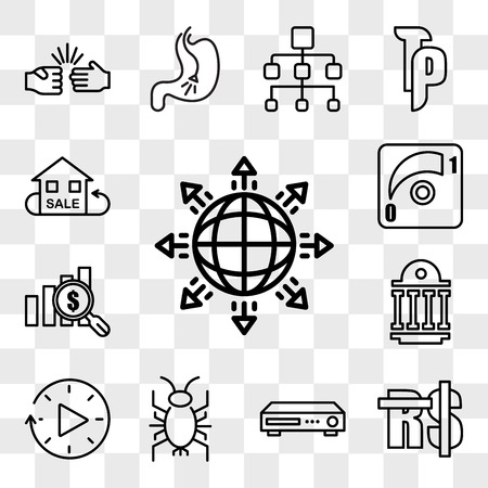 Set Of 13 transparent editable icons such as global expansion, saudi riyal, dvr, cricket bug, downtime, public sector, value proposition, dimmer, resale, web ui icon pack, transparency set