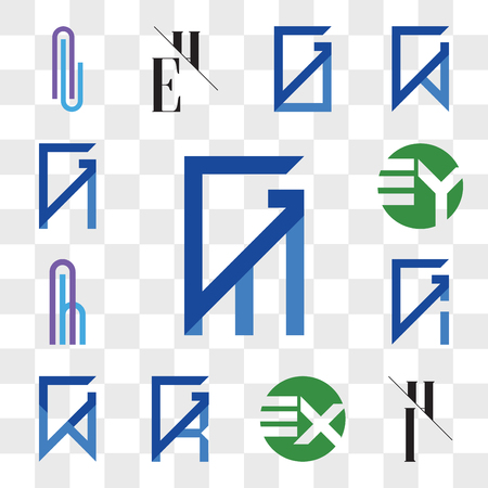 Set Of 13 transparent editable icons such as GM, MG, IH, HI, EX XE, GR, RG, GW, WG, GI, IG, Ah or hA Letter, EY YE, GN, NG, web ui icon pack, transparency set Illustration