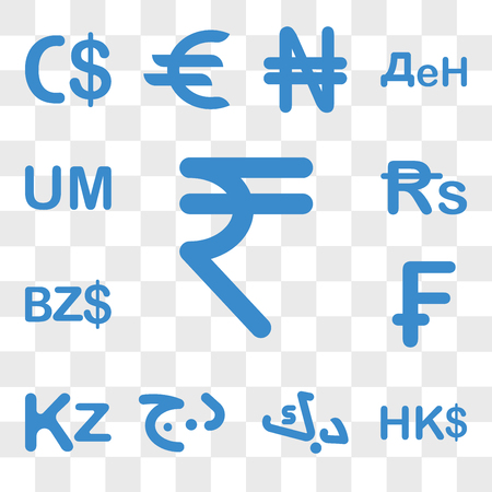 Set Of 13 transparent icons such as India currency, Hong Kong Kuwait Algeria Angola Switzerland web ui editable icon pack, transparency