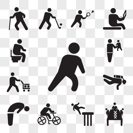 Set Of 13 transparent icons such as Exhausted Man, Business meeting, Falling man, Cyclist, Backbend, Diver, Worker loading boxes, web ui editable icon pack, transparency set