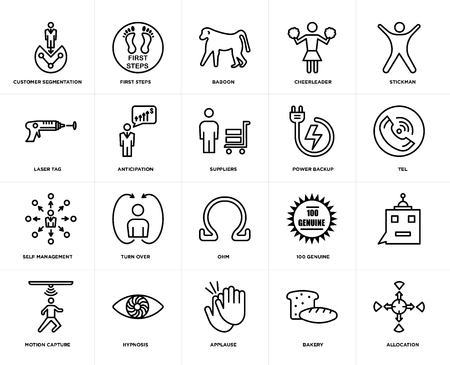 Set Of 20 simple editable icons such as allocation, tel, stickman, cheerleader, motion capture, first steps, 100 genuine, laser tag, web UI icon pack, pixel perfect