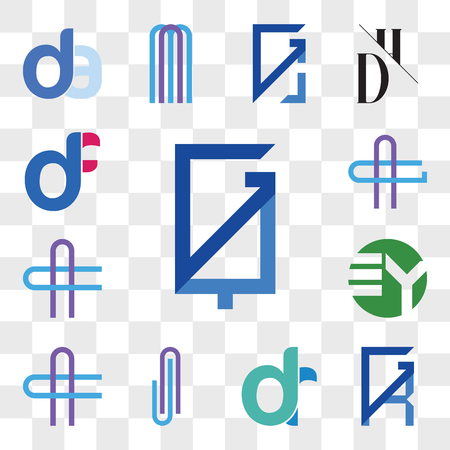 Set Of 13 transparent editable icons such as GQ, QG, GR, RG, dr, rd, AJ or JA Letter, AC CA EY YE, AG GA df, fd, web ui icon pack, transparency set