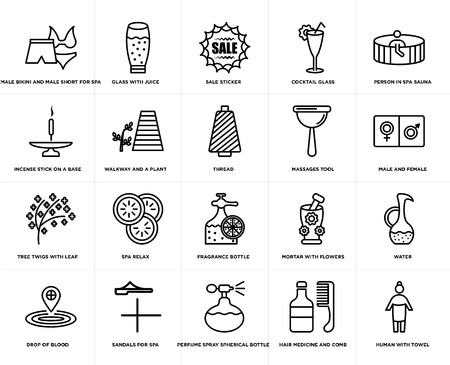 Set Of 20 simple editable icons such as male and female, Perfume spray spherical bottle, Sandals for spa, Incense stick on a base, thread, web UI icon pack, pixel perfect Illustration