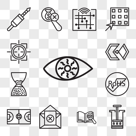 Set Of 13 transparent editable icons such as bloodshot eye, aeropress, proofreading, unsubscribe, futsal, rohs, scarcity, matchmaking, sniper zoom, web ui icon pack, transparency set
