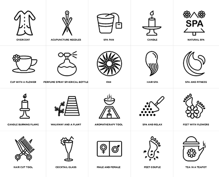 Set Of 20 simple editable icons such as spa and fitness, male female, Cocktail glass, cup with a flower, fan, web UI icon pack, pixel perfect Vettoriali