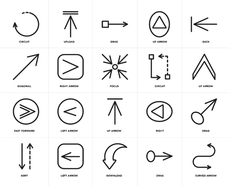 Ensemble de 20 icônes telles que Flèche incurvée, Glisser, Télécharger, Trier à gauche, Retour, Circuit, Avance rapide, Pack d'icônes modifiable de l'interface utilisateur Web droite, pixel parfait