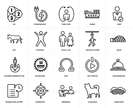 Set Of 20 simple editable icons such as sleep mask, igloo, user, barge, transaction history, power backup, get started, ass, web UI icon pack, pixel perfect