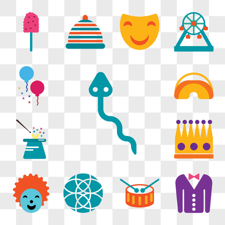 Set Of 13 transparent editable icons such as Snake, Tuxedo, Drum, Ball, Clown, Crown, Magician, Eye mask, Balloons, web ui icon pack, transparency set Illustration