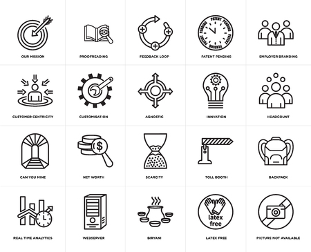 Set Of 20 simple editable icons such as proofreading, latex free, employer branding, webserver, real time analytics, Backpack, customisation, web UI icon pack, pixel perfect  イラスト・ベクター素材