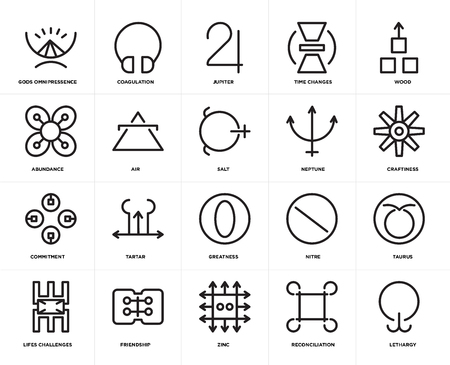 Set Of 20 icons such as Lethargy, Reconciliation, Zinc, Friendship, Lifes challenges, Wood, Neptune, Greatness, Commitment, Air, Jupiter, web UI editable icon pack, pixel perfect Illustration
