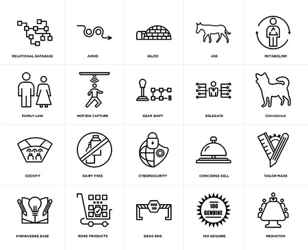 Set Of 20 simple editable icons such as mediation, chihuahua, metabolism, ass, knowledge base, avoid, concierge bell, family law, web UI icon pack, pixel perfect Ilustração