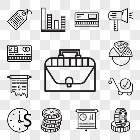 Set Of 13 transparent editable icons such as Briefcase, Stand, Presentation, Coins, Time is money, Cart, Receipt, Pie chart, Cit card, web ui icon pack, transparency set Illustration
