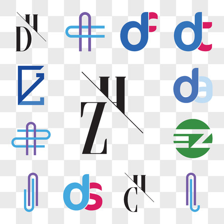 Set Of 13 transparent editable icons such as ZH, HZ, AL or LA Letter, CH, HC, ds, sd, AJ JA EZ ZE, AZ ZA da, ad, GL, LG, web ui icon pack, transparency set