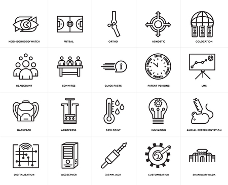 Set Of 20 simple editable icons such as shaniwar wada, lms, colocation, agnostic, digitalisation, futsal, innvation, headcount, web UI icon pack, pixel perfect 向量圖像