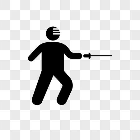 Icône de vecteur d'attaque d'escrime isolé sur fond transparent, concept de logo d'attaque d'escrime