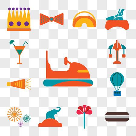 Ensemble de 13 icônes modifiables transparentes telles que pare-chocs, tarte à la lune, rose, éléphant, feux d'artifice, montgolfière, bruiteur, carrousel, cocktail, pack d'icônes web ui, jeu de transparence