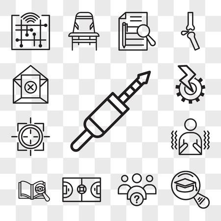 Set van 13 transparante bewerkbare pictogrammen zoals 3,5 mm-aansluiting, meest gelezen, waarom wij, zaalvoetbal, proeflezen, rillen, scherpschutterzoom, elektromechanisch, uitschrijven, web ui icon pack, transparantieset