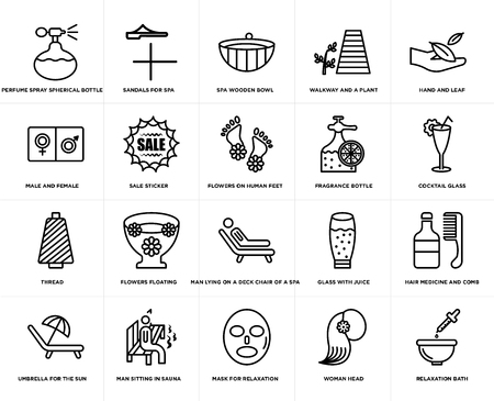 Set Of 20 simple editable icons such as Cocktail glass, Mask for relaxation, Man sitting in sauna, male and female, Flowers on human feet, web UI icon pack, pixel perfect