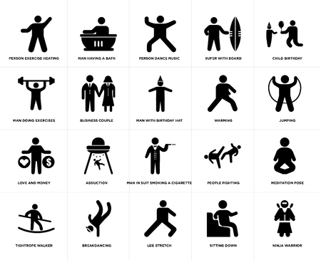 Set Of 20 simple editable icons such as Man having a bath, Sitting Down, Child Birthday, Breakdancing, Tightrope Walker, Meditation Pose, Business Couple, web UI icon pack, pixel perfect