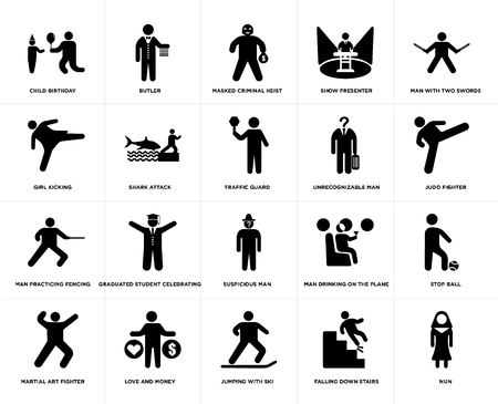 Set Of 20 simple editable icons such as Butler, Falling Down Stairs, man with two swords, love and money, Martial art fighter, Stop ball, Shark attack, web UI icon pack, pixel perfect Illustration