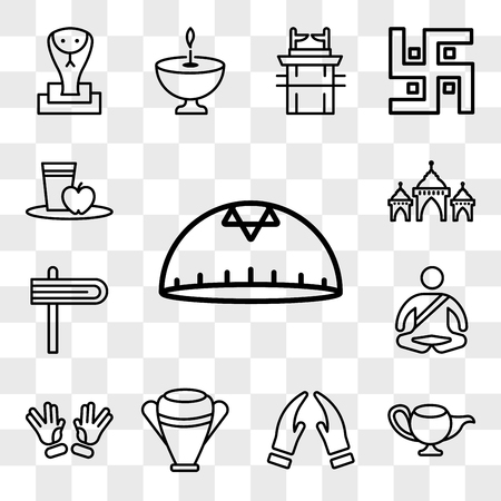 Set Of 13 transparent editable icons such as Kippah, Genie Lamp, Prayer, Manna Jar, Ohr, Meditation, Gragger, Mosque Domes, Diet, web ui icon pack, transparency set