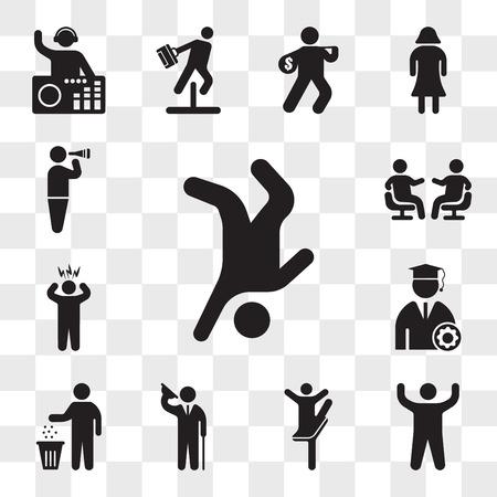 Ensemble de 13 icônes transparentes telles que Breakdancer, bras vers le haut, pose de ballerine, homme élégant saluant, recyclage de personne, étudiant diplômé, homme surpris, pack d'icônes modifiable de l'interface utilisateur web, jeu de transparence Vecteurs
