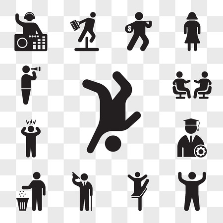 Set Of 13 transparent icons such as Breakdancer, Arm up, Ballerina pose, Elegant man saluting, Person recycling, Graduate Student, Surprised Man, web ui editable icon pack, transparency set Illustration