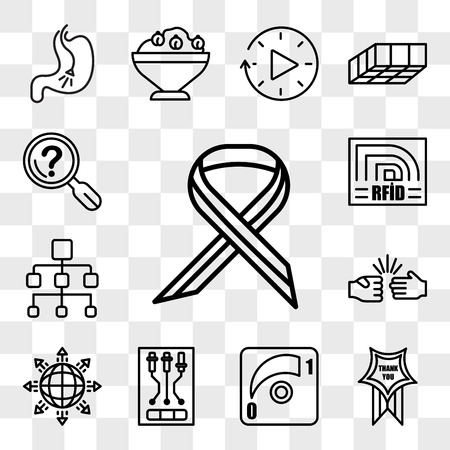 Set Of 13 transparent icons such as multiple sclerosis, thankyou, dimmer, , global expansion, rock paper scissors, org chart, rfid, web ui editable icon pack, transparency set Illustration