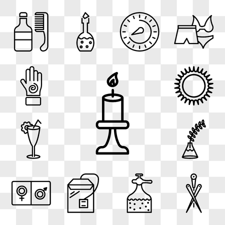 Set Of 13 transparent icons such as Candle burning flame, Acupuncture needles, Liquid soap bottle, Tea bag, male and female, Fern plant on vase, web ui editable icon pack, transparency