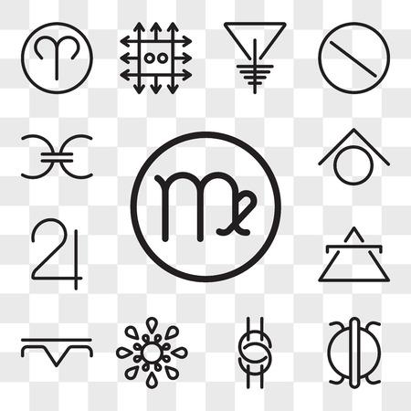 Set Of 13 transparent editable icons such as Virgo, Perseverance, Wisdom, Inequality, Precipitation, Air, Jupiter, Zinc, Projection, web ui icon pack, transparency set Vetores