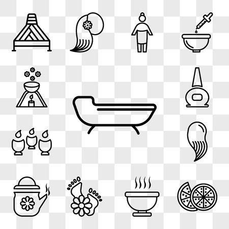 Set Of 13 transparent icons such as spa bed, Couple of half oranges, Bath immersion, feet with flowers, Tea in a teapot, hair spa, Spa, web ui editable icon pack, transparency set Vectores