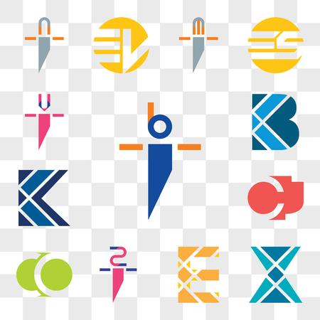 Set Of 13 transparent editable icons such as bi ib, X Letter, E zi iz, CO OC, CJ JC, K B ui iu, web icon pack, transparency set Illustration
