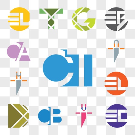 Set Of 13 transparent editable icons such as CT TC, EO OE, ui iu, CB BC, D Letter, EL LE, hi ih, ni in, CA AC, web icon pack, transparency set