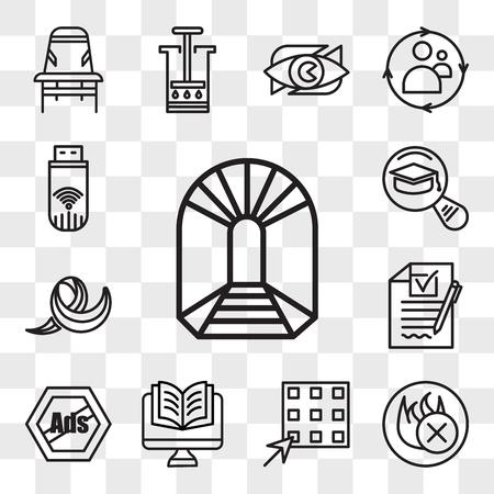 Set von 13 transparenten bearbeitbaren Symbolen wie können Sie abbauen, feuerhemmend, Waffel, Studien, Anzeigen entfernen, RFP, Jabber, meistgelesen, Dongle, Web-UI-Icon-Pack, Transparenz-Set