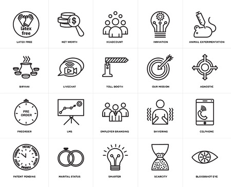Set Of 20 simple editable icons such as bloodshot eye, agnostic, animal experimentation, innvation, patent pending, net worth, shivering, biryani, web UI icon pack, pixel perfect
