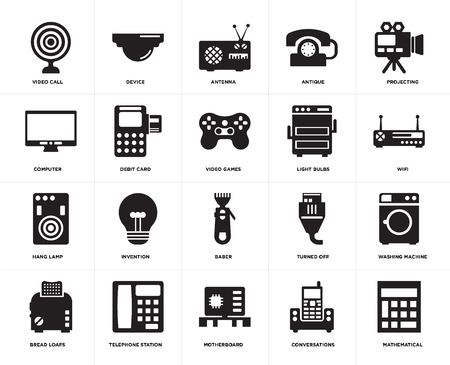 Set Of 20 simple editable icons such as Mathematical, Wifi, Projecting, Antique, Bread loafs, Device, Turned off, Computer, web UI icon pack, pixel perfect
