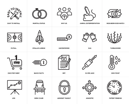 Set Of 20 icons such as patent pending, agnostic, lockout tagout, Desk chair, lms, neighborhood watch, dua, rfp, one stop shop, stellar lumens, why us, web UI editable icon pack, pixel perfect