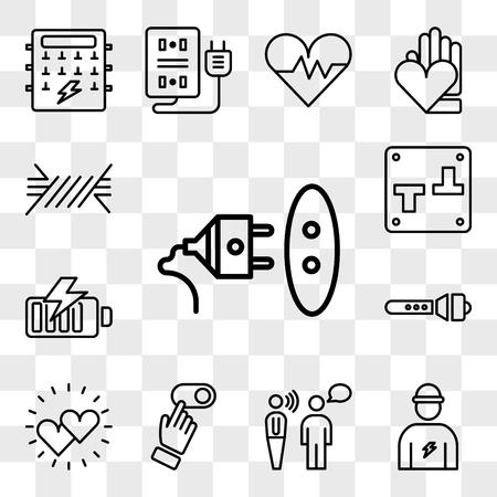 Conjunto de 13 iconos editables transparentes como enchufe, electricista, comunicación, interruptor, corazones, linterna, batería, cable, paquete de iconos de interfaz de usuario web, conjunto de transparencia