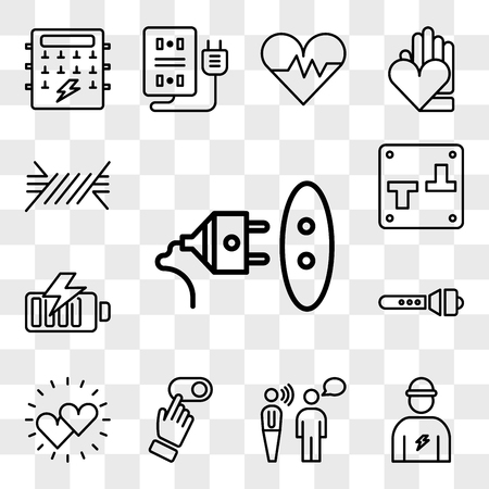 Set Of 13 transparent editable icons such as Socket, Electrician, Communication, Switch, Hearts, Flashlight, Battery, Wire, web ui icon pack, transparency set Illustration