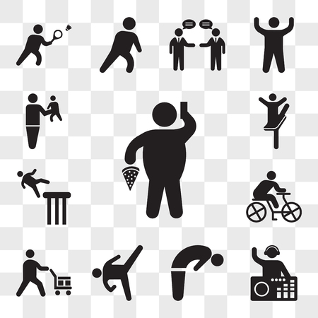 Set Of 13 transparent icons such as Fat Man With Pizza and Telephone, DJ Mixing Music, Backbend, Karate High Kick, Worker loading boxes, Cyclist, web ui editable icon pack, transparency