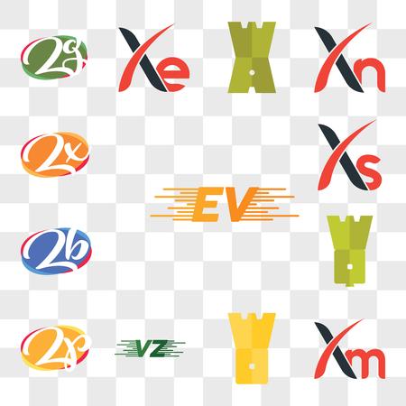 Set Of 13 transparent editable icons such as EV, Xm, WO, VU or UV, Zp pZ, WQ, zb bz, Xs, Zx, web ui icon pack, transparency set