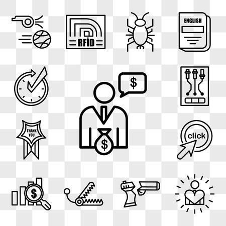 Set Of 13 transparent editable icons such as cfo, self esteem, broken gun, bear trap, value proposition, click me, thankyou, , realtime, web ui icon pack, transparency set