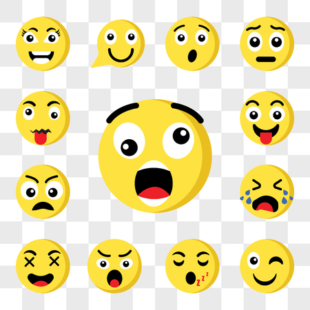 Set Of 13 transparent icons such as Shocked emoji, Wink Sleeping Angry Happy Crying Sad Tongue web ui editable icon pack, transparency set Stock Illustratie
