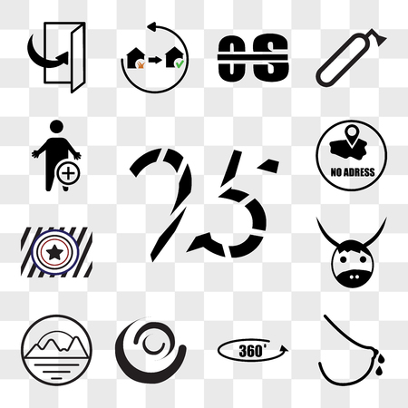Set Of 13 transparent editable icons such as 25years, lactation, 360 photo, swish, pinnacle, yak, Airforce, no address, occupational therapy, web ui icon pack, transparency set