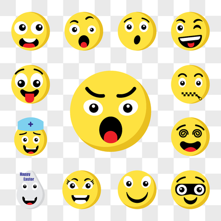 Set Of 13 transparent icons such as Angry emoji, Thief Happy Smart Easter Hypnotized Nurse Muted web ui editable icon pack, transparency set Illustration