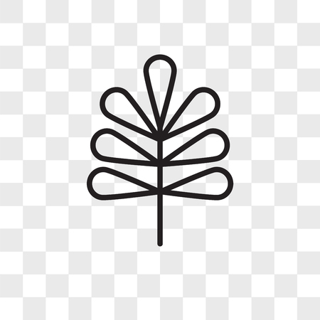 Pecan leaf vector icon isolated on transparent background, Pecan leaf logo concept Illustration
